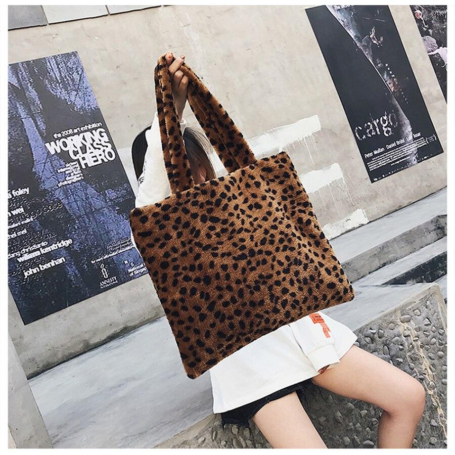 Leopard Print Women Handbag 2018 Fashion Plush Women Shoulder Bag Winter Big Capacity Females Bucket Tote Leopard Dots Girls Bag leopard print knot hem tee