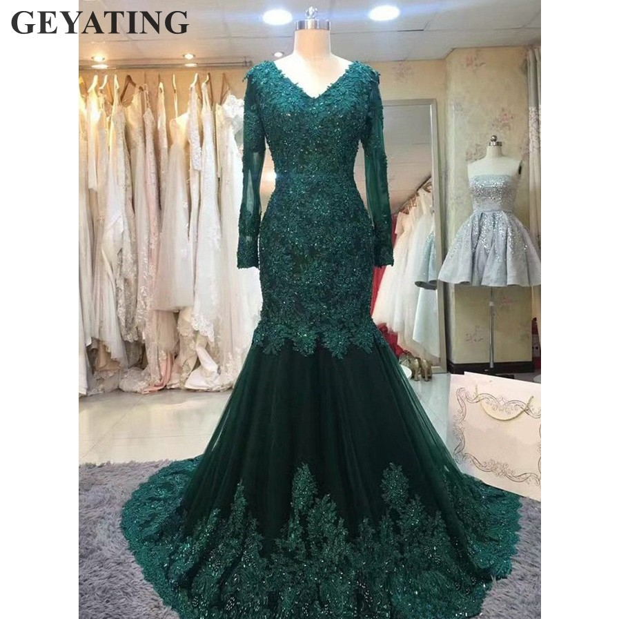 Elegant Emerald Green Muslim Arabic Evening Dress Long Sleeves Lace Bead Mermaid Formal Prom Dresses 2019 Plus Size Kaftan Dubai