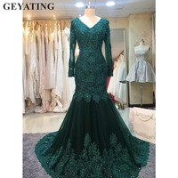 Elegant Emerald Green Muslim Arabic Evening Dress Long Sleeves Lace Bead Mermaid Formal Prom Dresses 2019 Plus Size Kaftan Dubai