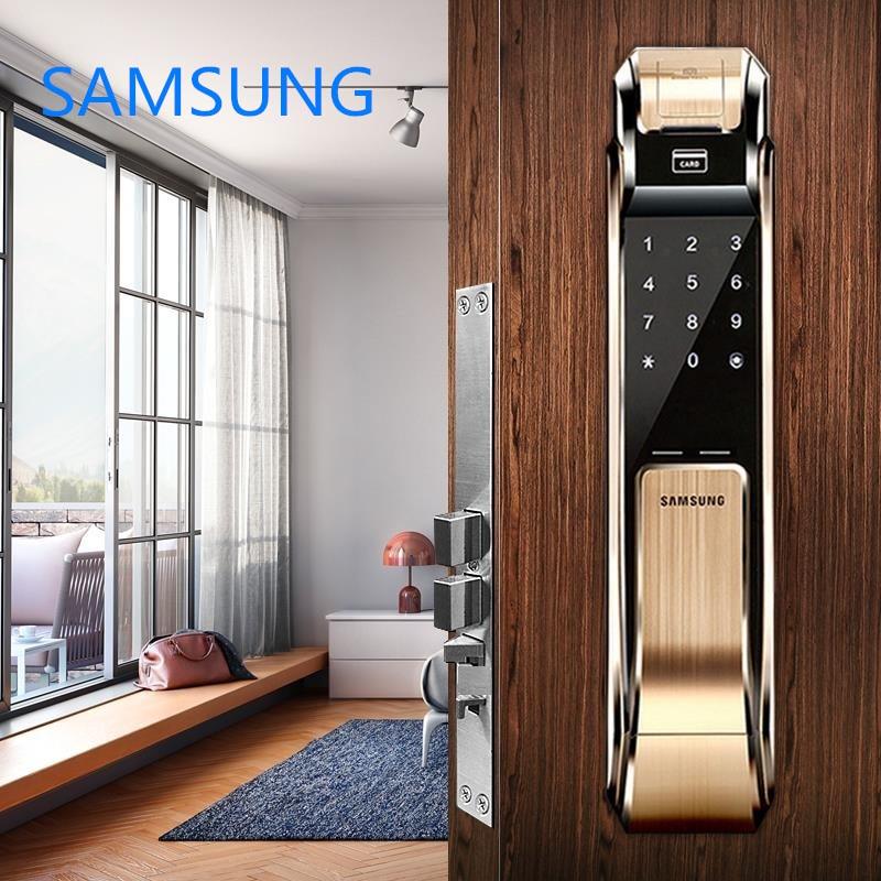SAMSUNG Fingerprint Digital Door Locks Push Pull Keyless Door Lock  SHS-DP718 Eurp Big Moritse