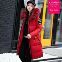 2018 Europe and America autumn winter new long cotton clothes bread big hair collar knee students bf sustans coat L879 wholesale