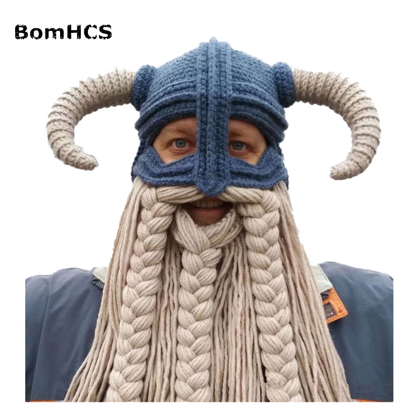 BomHCS Vikings Beanies Beard Horn Hats Handmade Knitted Caps Men's Women Birthday Cool Gifts Party Mask bomhcs funny wigs beard handmade knitting hats wanderers cap helloween party gifts