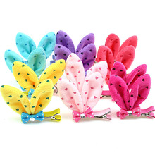 FreeShipping Lovely Bunny Ears Hair Clips Cute Hairpin accessory for baby girls soft Plush Charms fringe barrette 5prs/lot
