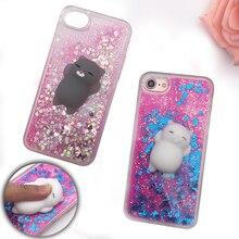 Squishy телефон чехол для iPhone 5S случае 3D Кот с сияющими блестками жидкость зыбучие пески Прозрачная крышка для iPhone 6 6 S 7 7 Plus