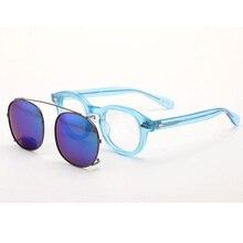 Johnny Depp Glasses Clip On Sunglasses Polarized Lens Men Women Blue Acetate Optical Frame Brand design Sq088