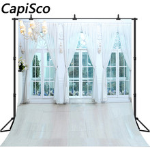 Capisco White Curtain Flowers Lamp Photocall Wedding Photo Backgrounds Customized Photographic Backdrops For Photo Studio(China)