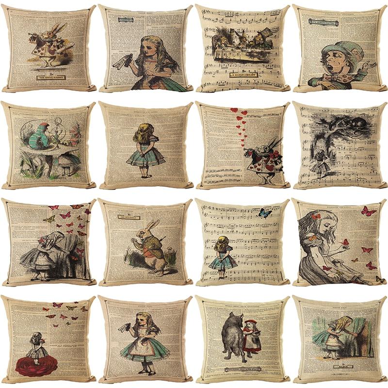 Vintage Series Cushion Illustration Throw Pillow Rabbit Praiser In Newspaper Alice In Wonderland Retro Decorative Pillows HH055