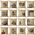 Vintage Series Cushion Illustration Throw Pillow Rabbit Praiser in Newspaper Alice in Wonderland Retro Decorative Pillows HH055