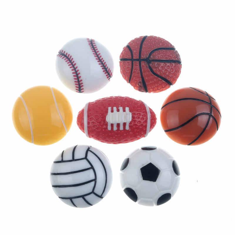 10 Uds 25mm Mini resina, Fútbol baloncesto decoración artesanía Flatback cabujón adornos para Scrapbooking Accesorios
