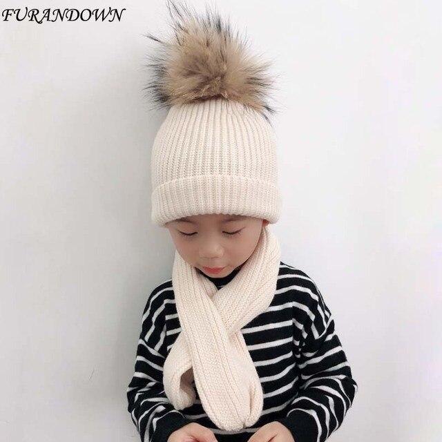2018 piel Real Pompom Beanie Hat niños algodón gorro y bufanda ...