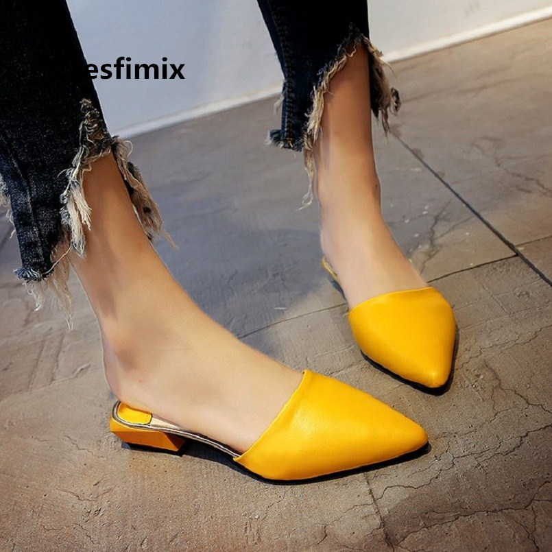 Women Cute Fashion Pointed Toe Yellow Slip on Sandal Shoes Lady Casual Street Spring Shoes Sapatos Zapatos De Mujer E753Women Cute Fashion Pointed Toe Yellow Slip on Sandal Shoes Lady Casual Street Spring Shoes Sapatos Zapatos De Mujer E753