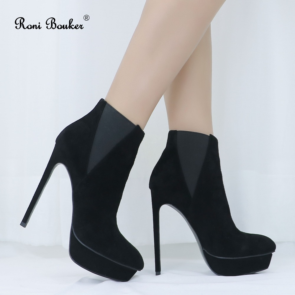 Roni Fashion Female Genuine Suede Leather Stiletto Heels Women Slip-on Platform Thin Heel Shoes Big Size Sexy Black Ankle BootsRoni Fashion Female Genuine Suede Leather Stiletto Heels Women Slip-on Platform Thin Heel Shoes Big Size Sexy Black Ankle Boots
