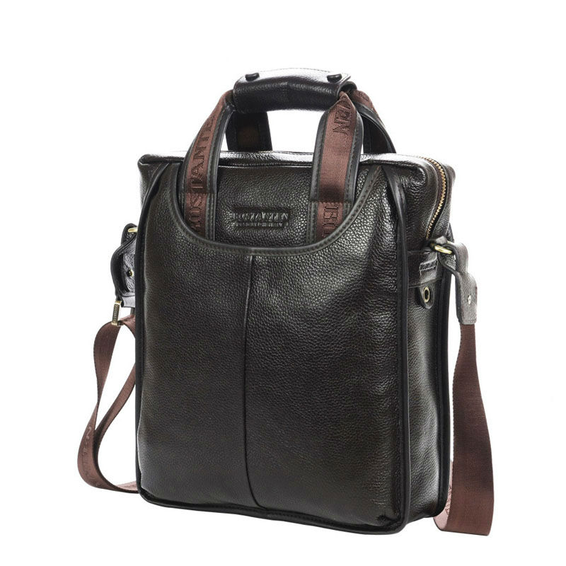 Bostanten 100% Top GENUINE KULIT Cowhide Bahu Leisure Lelaki Beg Perniagaan Messenger Portable Briefcase Laptop Casual Purse