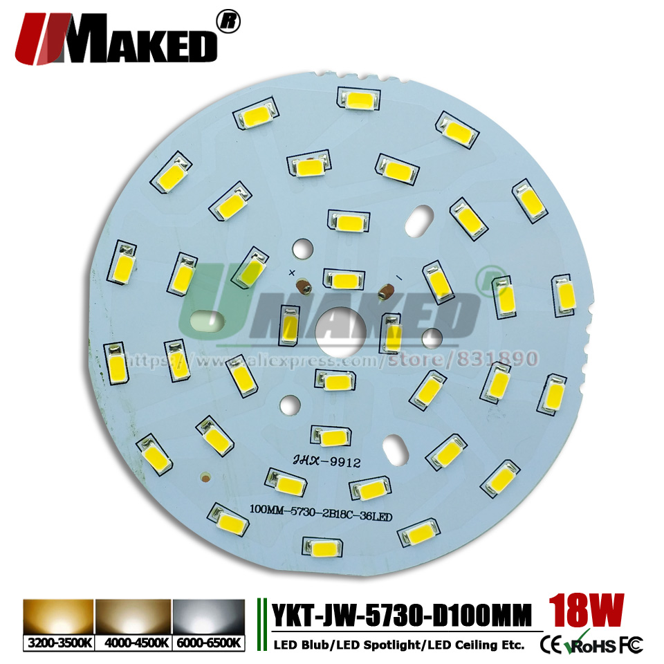 UMAKED 18W 100mm SMD5730 LED PCB Bulb Spotlight Downlight Light Source Install led Chips Aluminum Lamp plate Warm/Natural/White dc 12v 45w 155mm led pcb white red color input dc12v needn t driver smd5730 high lumen aluminum lamp plate