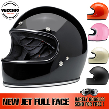 new VECCHIO Full Face vintage JET motorcycle helmet racing Motocross motorbike Casco Capacete Retro helmet  fiberglass DOT