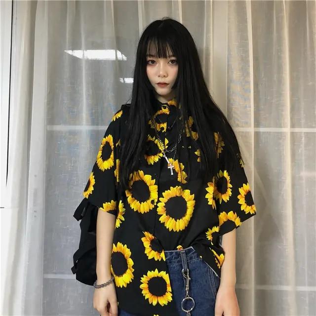 Neploe Short Sleeve Black Shirts for Women Harajuku Sunflower Print Blouses Ladies Tops Loose Streetwear Student Shirt 38910
