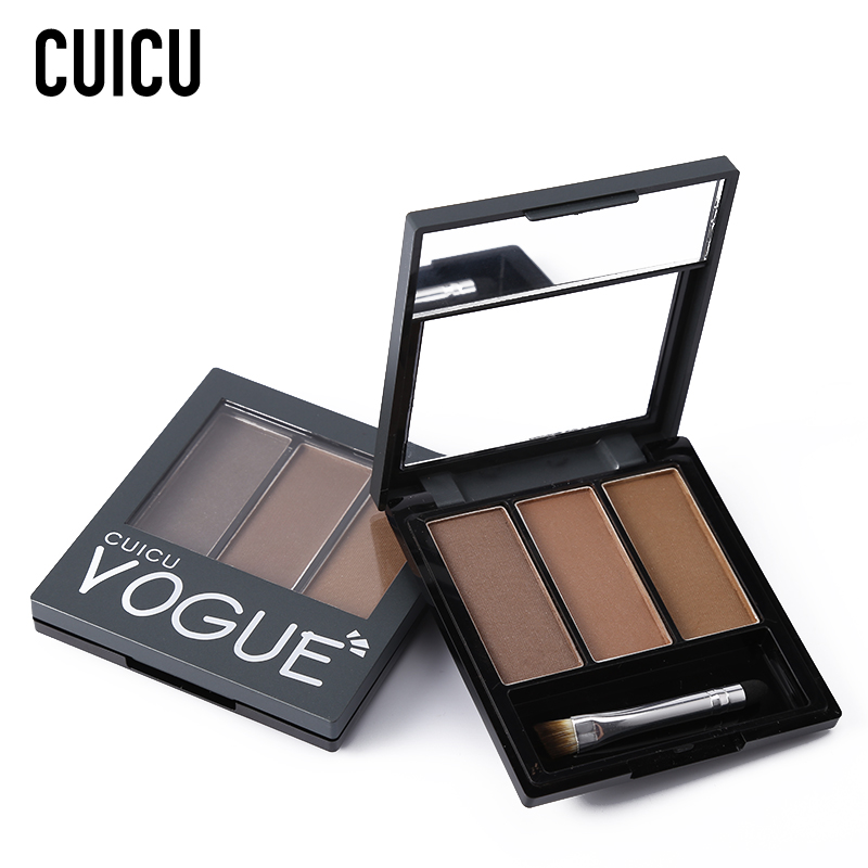 CUICU Brand 3 Colos Brown Eyebrow Powder Makeup Palette Waterproof Eyebrow Tint Eye Brow Enhancer Shadow Drawing Cosmetic Kit