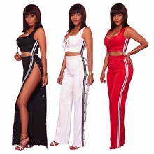 d76ebf8716c9 2018 Summer Fashion Women Sexy clothes Plus size two piece set crop top  Cropped Tops split