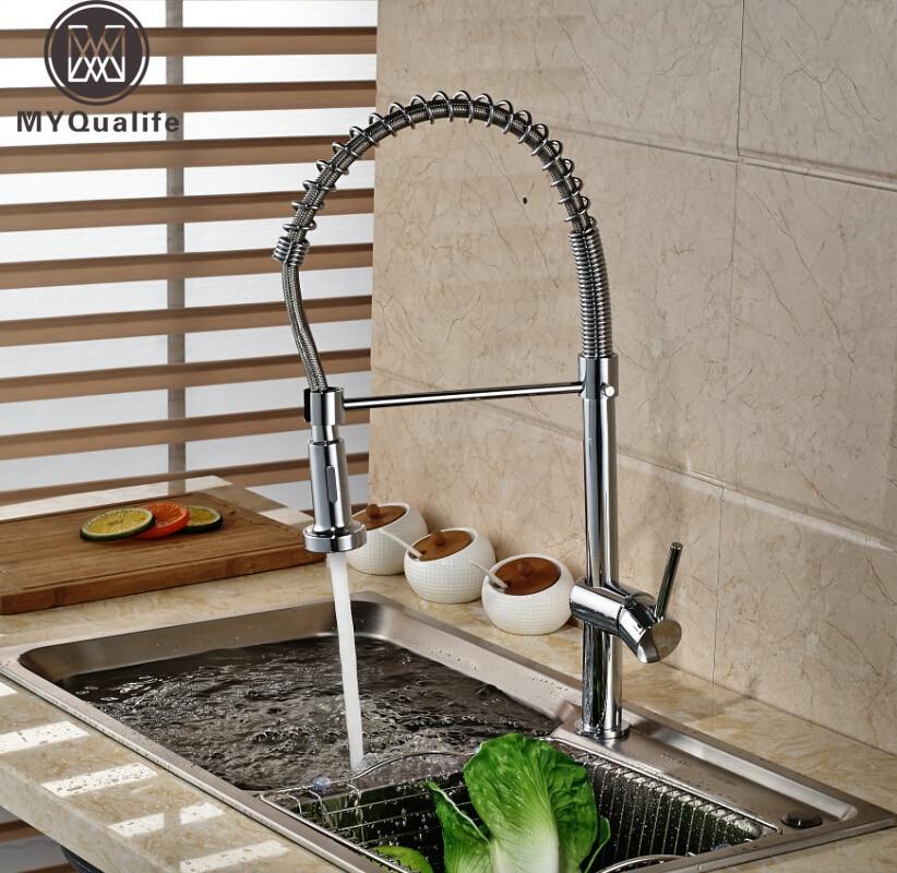 Newly Single Handle Brass Kitchen Sink Mixer Water Faucet Dual Sprayer Kitchen Water Taps Chrome Finish deck mount single handle kitchen faucet one handle chrome brass kitchen sink mixer tap dual sprayer functions