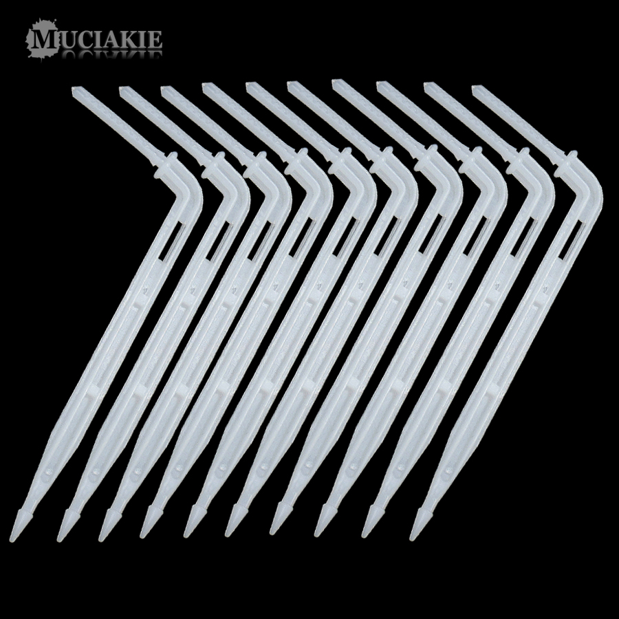 20PCS Transparent White Drip Emitter Bending Arrow Drippers Curved Sprinklers Micro Drop Irrigation System For 3/5mm Hose