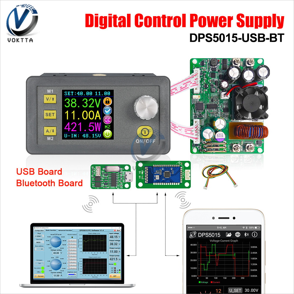 DPS5015 50V 15A Communication Constant Voltage Current DC Step-down Power Supply Module Buck Voltage Converter LCD Voltmeter