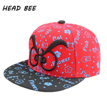 [HEAD BEE] 2017 New Novelty Character Baseball Cap Print Cartoon Lovely Hip Hop Hat Style Flat Hat Last King For Boys and Girls