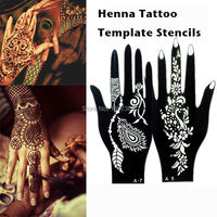 10Pair Indian Glitter Airbrush Large Henna Tattoo Template Stencils For Body Paint Henna Left Right Hand
