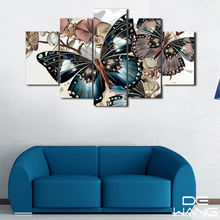 Hd Butterfly 5 Panel Piece Canvas Art Posters And Prints Paintings Wall Pictures Canvas Painting Calligraphy For Bedroom Home