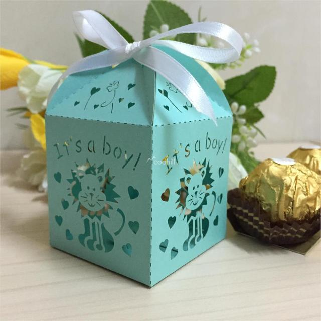 50pcs Laser Cut It Is A Boy Baby Shower Favors Candy Boxes Sweet Box