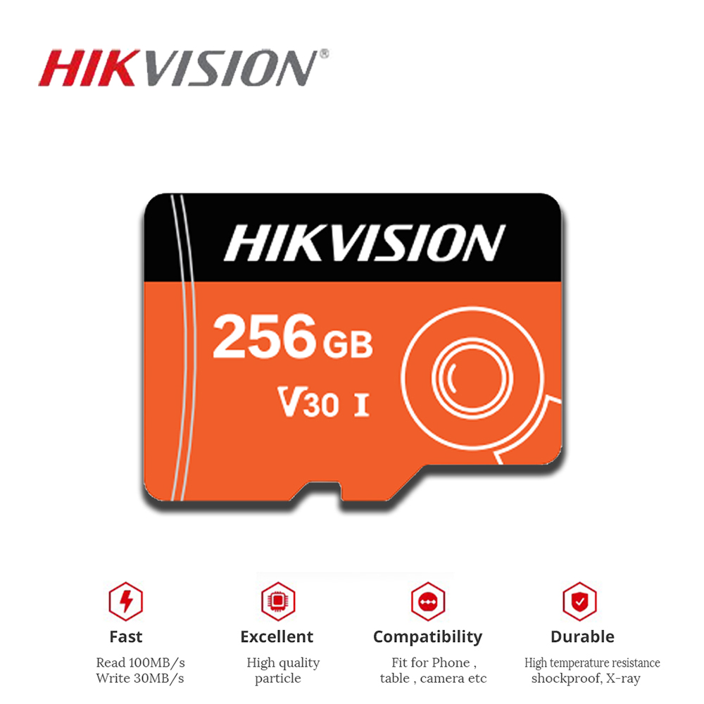 HIKVISION SD Card 256GB 128GB 32GB 64GB V30 Memory Card For IP Camera Surveillance Cartao De Memoria High Capacity Mini TF Card