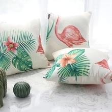 1pc Pillowcases Nordic Flamingo Cactus Green Plant Print Throw Waist Cushion Cover Square Pillow Case Sofa Livingroom Home Decor