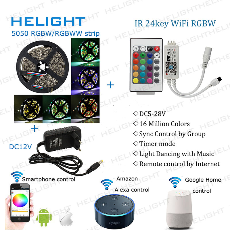 Wifi RGBW WW Music controller Syc control By Amazon Alexa Google Home Smart Phone 5050 RGBW