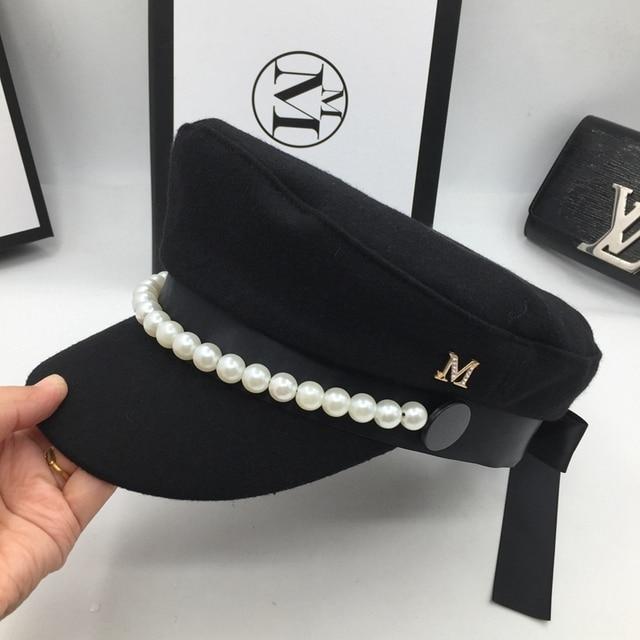Sobre web celebridad estilo lana Marina sombrero popular perla Decoración  elegante moda gorra bowknot es luz 6953944880e