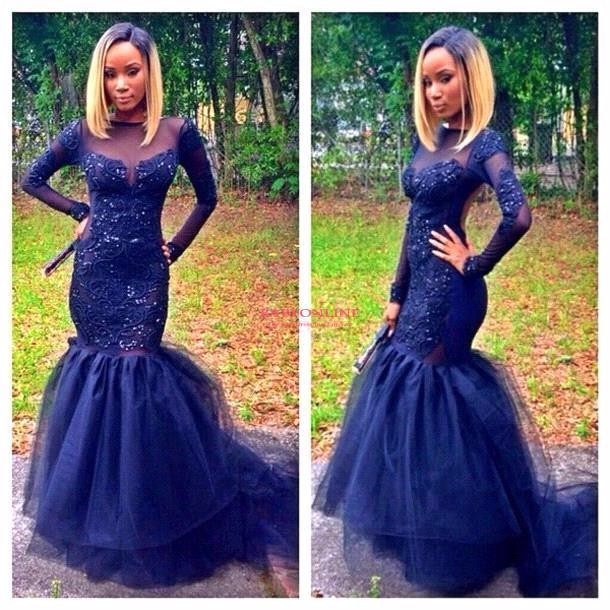 Buy African Elegant Long Sleeve Mermaid Evening Dresses 2017 Scoop Beaded Applique Floor Length Navy Blue Tulle Prom Evening Dresses