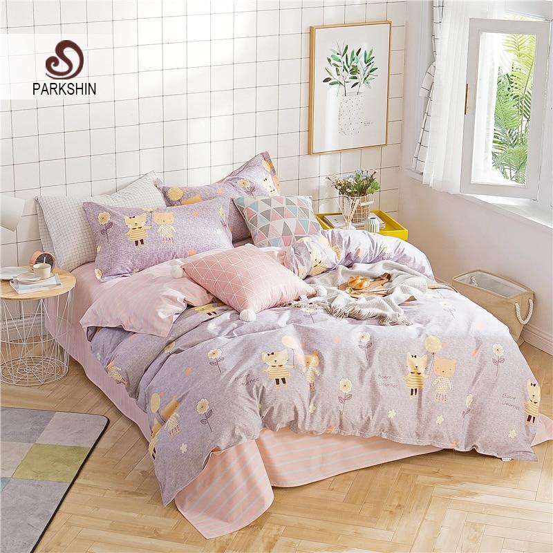 ParkShin Fashion Cartoon Bear Elegant Bedding Set Comforter Duvet Cover Active Printing Set Bed Linen Bedclothes Multi Sizes