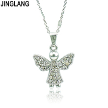 JINGLANG 2018 Brand New Fashion White Rhinestone Angel Charms Pendant Necklace For Women Statement Jewelry Valentine's Gifts