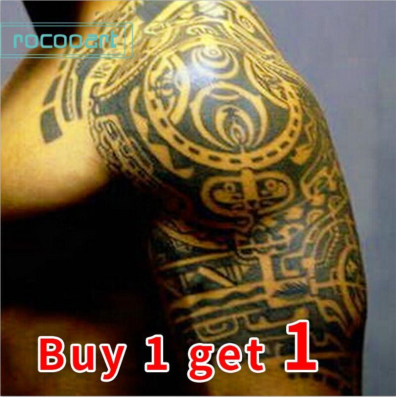 Gran Tatuajes Temporales Pegatina Hombres Brazo Lelft Hombro Falso - Tatuajes-de-hombro-y-brazo