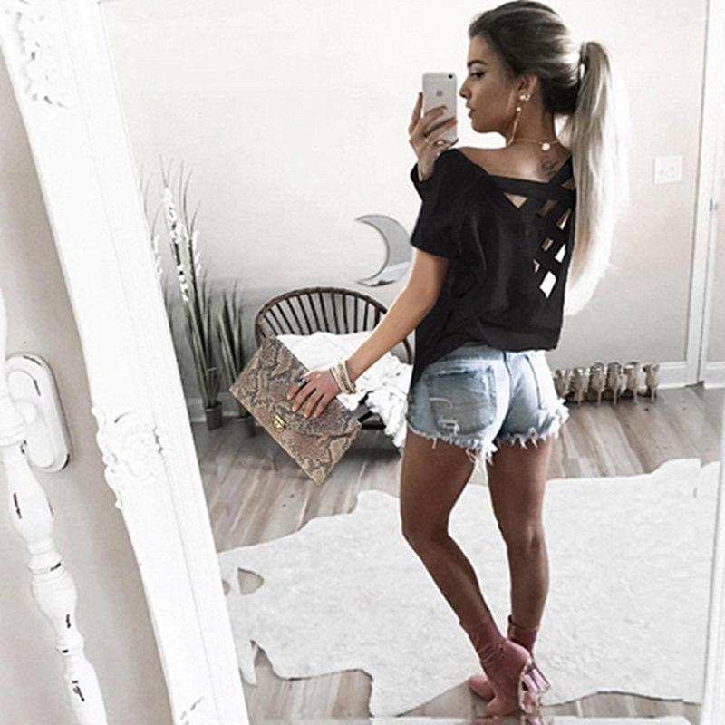 Women's Sexy Backless Hollow Bandage Punk Tee Shirt, Woman's Short Sleeve Summer T-Shirt 8