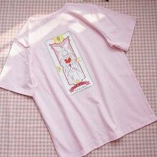 Cardcaptor Sakura Женская Футболка Harajuku Card Captor Sakura женская розовая футболка Топ Повседневная Уличная футболка футболки