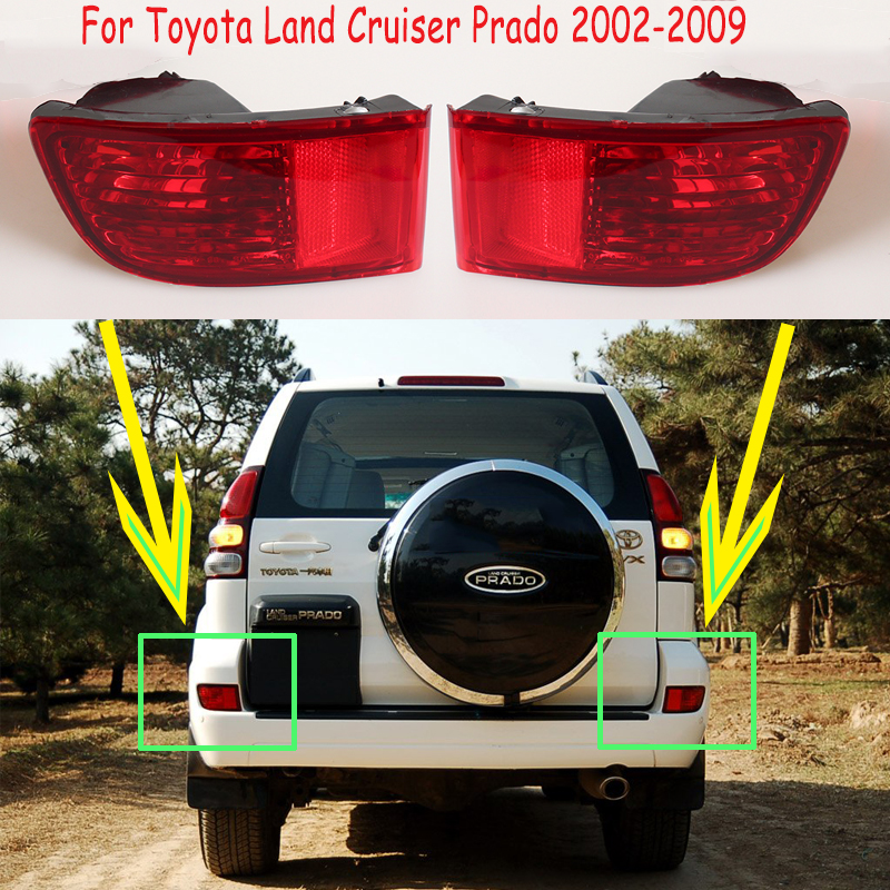 For <font><b>Toyota</b></font> <font><b>Land</b></font> <font><b>Cruiser</b></font> <font><b>Prado</b></font> <font><b>120</b></font> tail lamp 2002-2009 Rear Bumper reflectors Lights No Bulb rear lights tail lights taillights image
