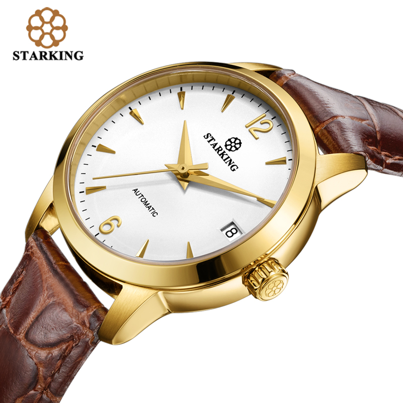 STARKING Women Automatic Mechanical Watch 2016 Gold Case Brown Genuine Leather Strap font b Sapphire b