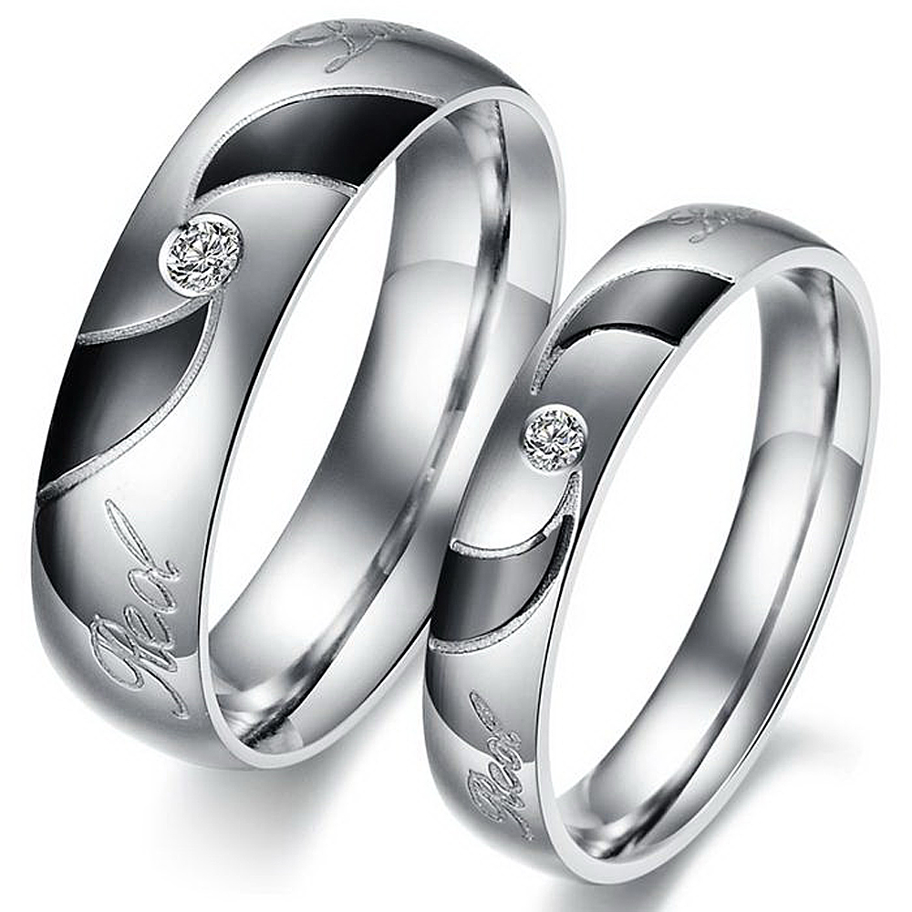 Unique Art Deco Couple Rings Set Stainless Steel Cheap Lovers' Engagement  Ring Fashion Jewelry Beauty