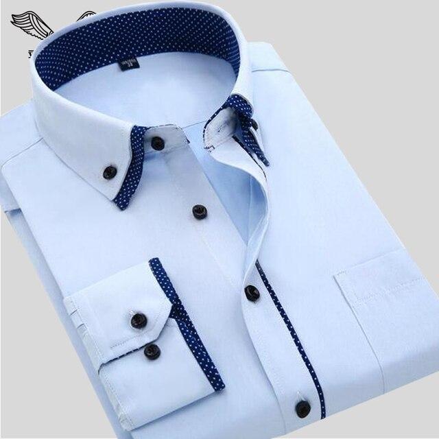 Мужская Рубашка 2016 Весной Новые Поступления Дизайн Одежды С Длинным Рукавом Slim Fit Повседневный Стиль Сплошной Мужской Рубашки Хлопка Плюс 4XL N554