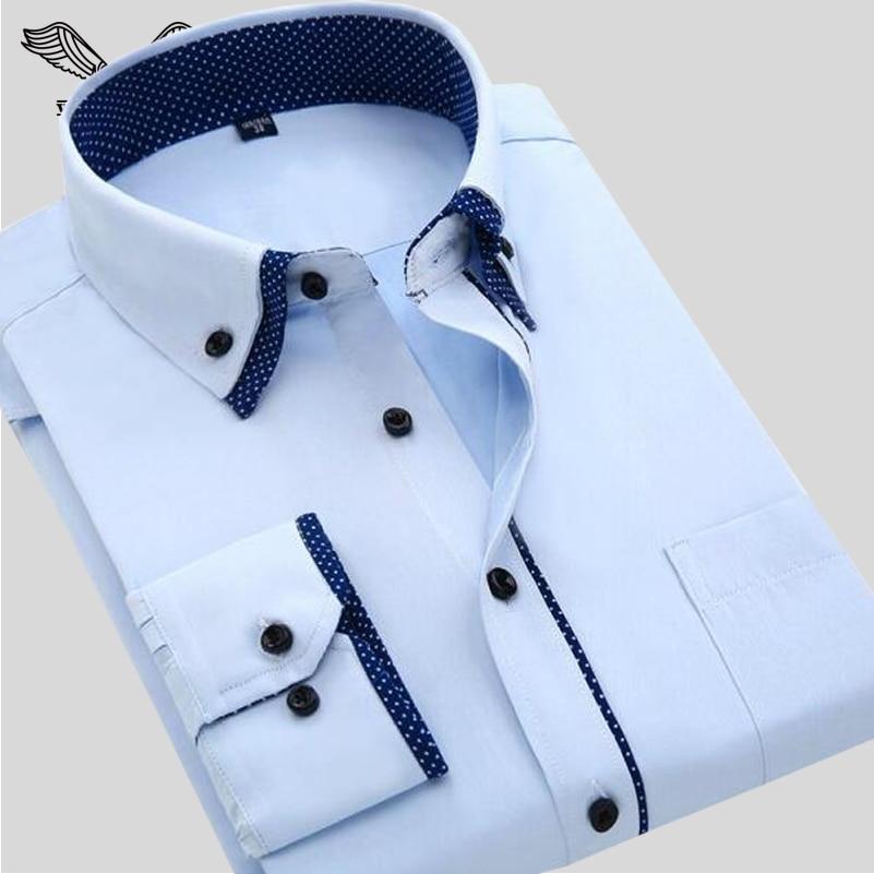 7a6edcbeae8 VISADA JAUNA Men's Shirt 2017 Spring New Arrivals Design Long Sleeve Slim  Casual Style Solid Male Cotton Shirts Plus 4XL N554
