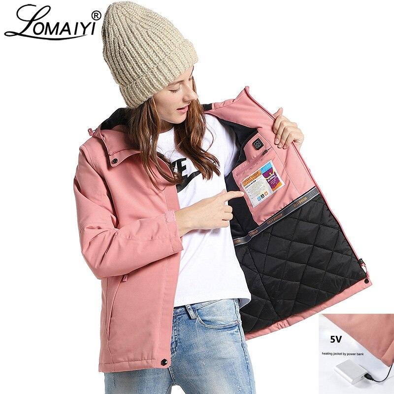 Women's Winter Jacket Women USB Heated   Parka   Female Plus Size Reflective Hooded Coat Womens Waterproof Warm Cotton Jackets AW210