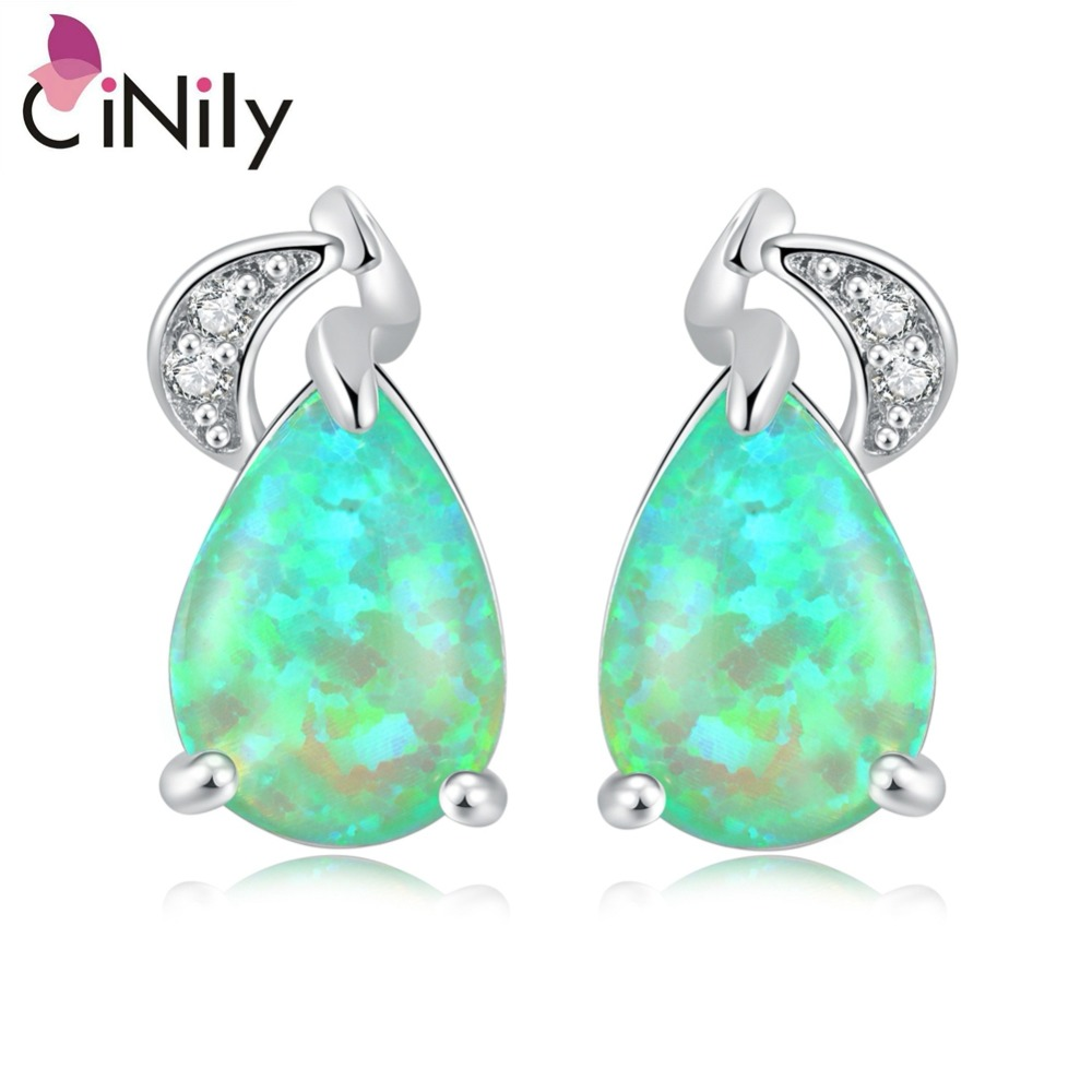 CiNily Green Fire Opal Stud Earrings Silver Plated Large Teardrop Stone Zirconia Crystal Filled Earring Party Jewelry Gift Women