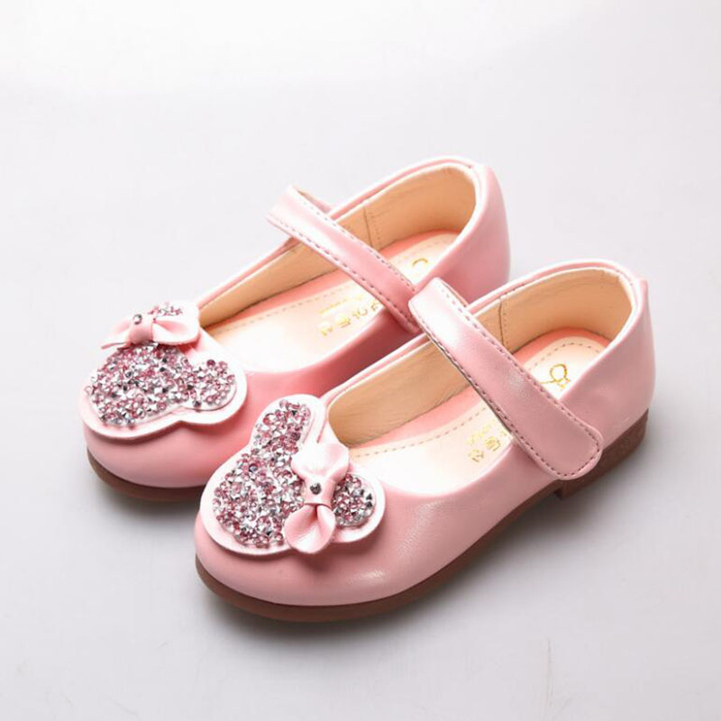 1 2 3 4 5 6 Years Kids Spring Autumn Fashion Princess Diamond Leather shoes Baby Children School Wedding Party Shoes Girls 28