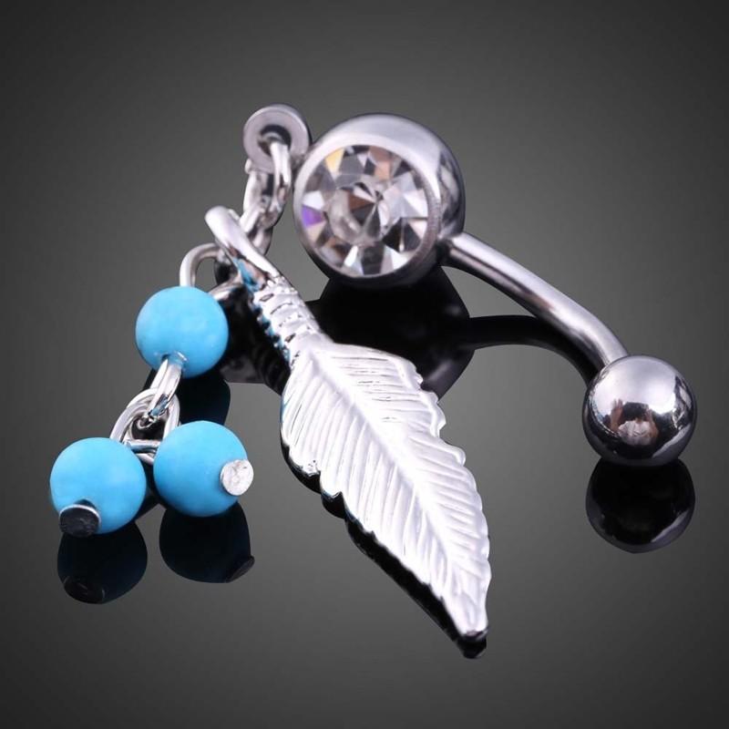 HTB1x8S8PVXXXXblaXXXq6xXFXXXH Women Sparkling Feather Pendant Belly Button Ring Body Piercing Jewelry