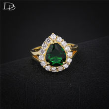 Charming 585 gold color ring vintage green stone jewelry elegant rings for women luxury rhinestone wedding engagement anel DD201(China)