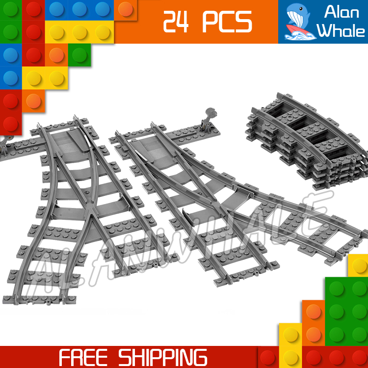 City Trains Flexible Tracks and Switch Track Set Figure Building Blocks Curved Rails Kit Toys Compatible